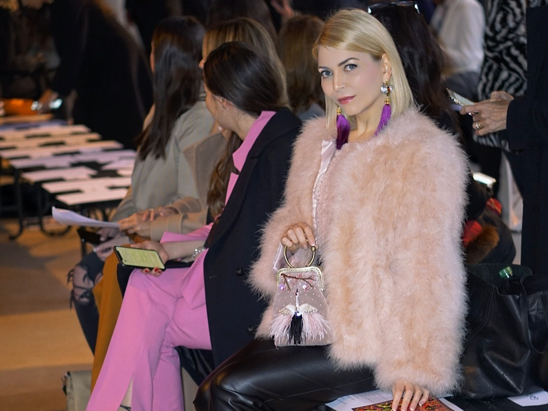 Couture Designer and Artist Yuliya Savytska Front Row Guest at Paris Fashion Week FW20/21